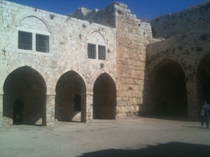 Crusader arches on right, Ottoman arches on left