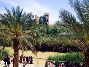 Muslim visitors approach the waters of the Jordan River at Qasr el Yahud, the Baptismal site.
